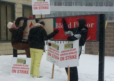 Nova Scotia blood collection workers cross the picket line in PEI