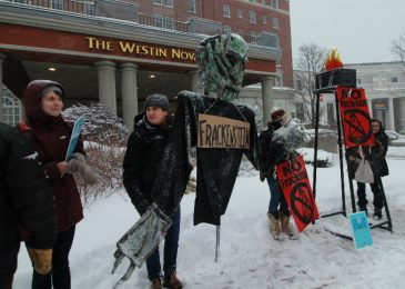 Media release: Activists rallied against fracking at Maritimes Energy Association AGM , fracking must remain banned