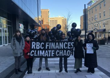 Media release: Activists confront Royal Bank of Canada for financing fossil fuel  projects at their Annual Shareholders Meeting in Halifax