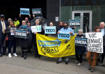 People from Labrador, Florida and Nova Scotia rally at Emera shareholders meeting in Halifax