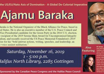 PSA: Ajamu Baraka in Halifax, Sat., Nov. 16, Gottingen Library, 1-5 PM
