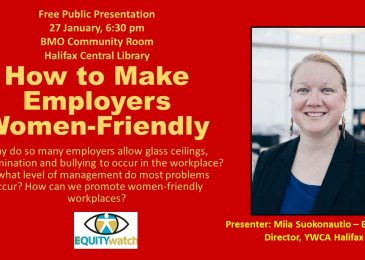 "PSA: Mark your calendars. Equity Watch public talk, ""How to make employers women–friendly"" – 27 January, Central Library"