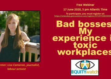PSA: Free webinar — Bad bosses: My experience in toxic workplaces — June 17