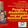 PSA: Equity Watch webinar, 15 December 4:30 pm Atlantic: People with disabilities fight segregation and demand inclusion